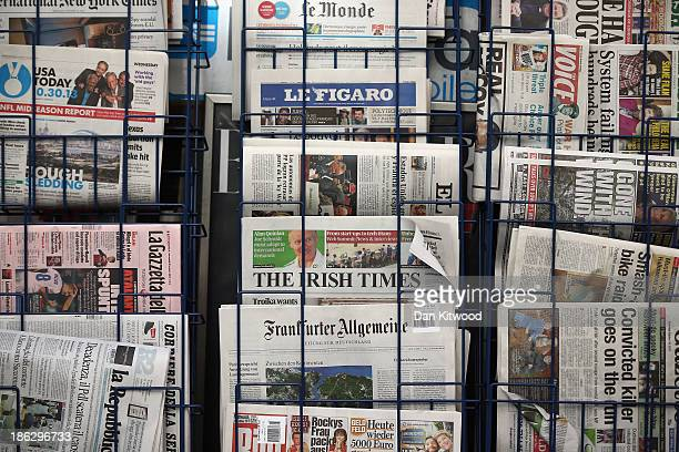 A general view of a newspaper stand on Fleet Street on October 30 2013 in London England The publishers of UK newspapers and magazines are at the...