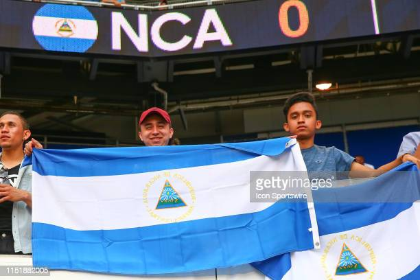 A general view of a Nicaragua fan holding a flag prior to the CONCACAF Group B game between Bermuda and Nicaragua on June 24 2019 at Red Bull Arena...