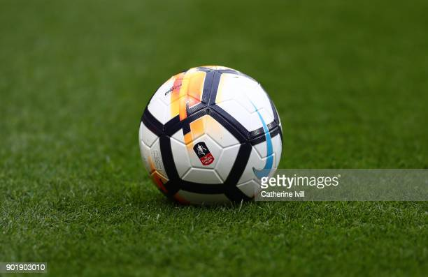 General view of a Nike FA Cup match ball during the Emirates FA Cup Third Round match between Watford and Bristol City at Vicarage Road on January 6...