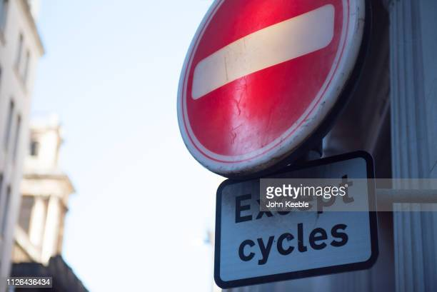 A general view of a no entry except cycles road sign on January 28 2019 in London England