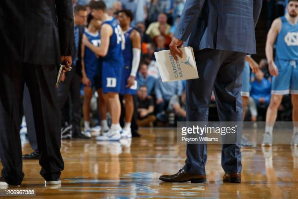 "General view of a North Carolina Tar Heels clipboard with ""Carolina Basketball"" and the Jumpman logo on the back during a game against the Duke Blue..."