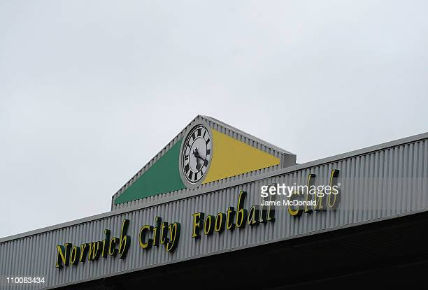 A general view of a Norwich City sign inside Carrow Road home of Norwich City Football Club on March 14 2011 in Norwich England