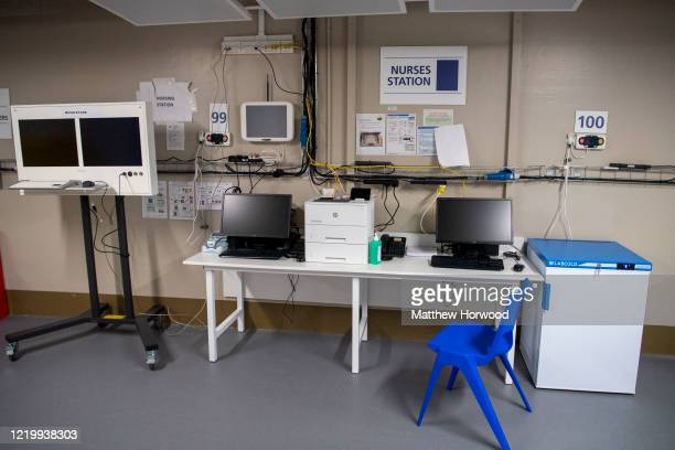General view of a nurses' station within the new Dragon's Heart Hospital on April 20, 2020 in Cardiff, Wales. The Dragon's Heart hospital is a...