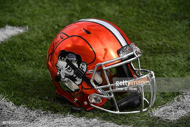 A general view of a Oklahoma State Cowboys helmet on the field prior to the game against the Kansas State Wildcats on November 5 2016 at Bill Snyder...