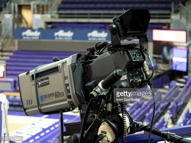 A general view of a PAC 12 Network tv camera before a college basketball game between the Washington Huskies against the Cal State Fullerton Titans...