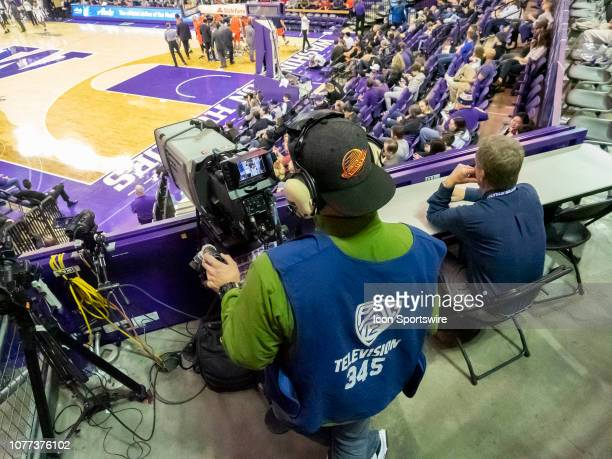 A general view of a PAC 12 Network tv camera during a college basketball game between the Washington Huskies against the Cal State Fullerton Titans...