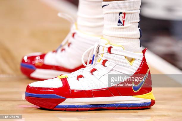A general view of a pair of NIKE shoes worn by Ian Clark of the New Orlean Pelicans during the game against the Orlando Magic at the Amway Center on...