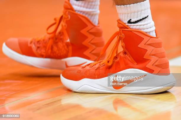 General view of a pair of Nike sneakers prior to the game between the North Carolina State Wolfpack and the Syracuse Orange at the Carrier Dome on...