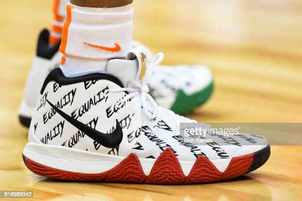 General view of a pair of Nike sneakers with the word EQUALITY prior to the game between the North Carolina State Wolfpack and the Syracuse Orange at...