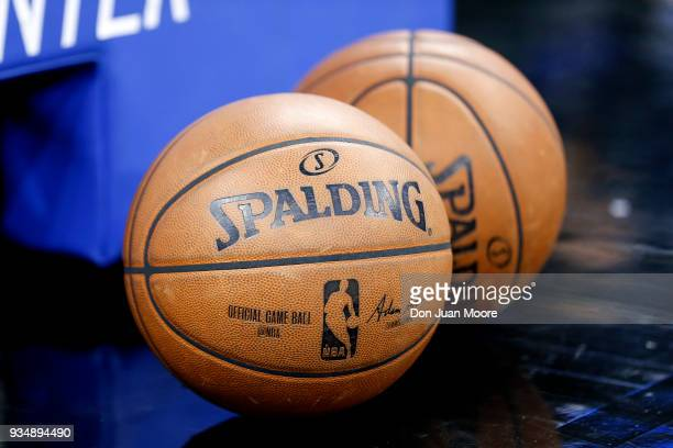 A general view of a pair of official Gameday Spalding Basketballs on the sidelines before the Orlando Magic host the Cleveland Cavaliers at the Amway...
