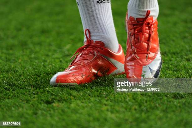 034bb0eb5 General view of a pair of red Nike football boots as worn by  Middlesbrough's Leroy Lita