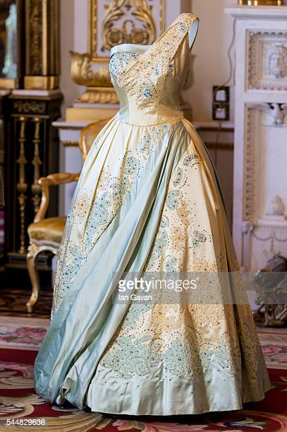 A general view of a pale blue and gold evening dress by Sir Norman Hartnell worn by the Queen on a state visit to The Netherlands in 1958 during the...