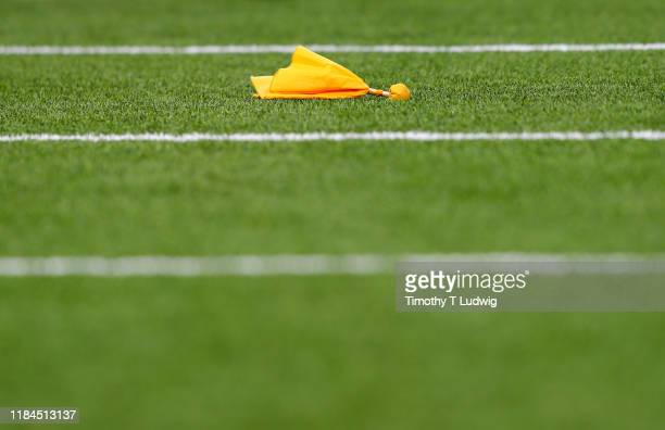 General view of a penalty flag on the field during a game between the Buffalo Bills and the Philadelphia Eagles at New Era Field on October 27, 2019...