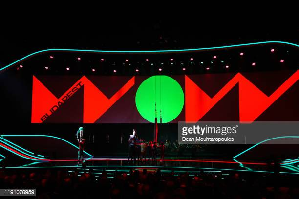 General view of a performance on stage during the UEFA Euro 2020 Final Draw Ceremony at the Romexpo on November 30, 2019 in Bucharest, Romania.