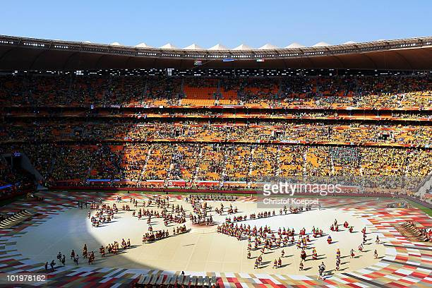 General view of a performance the Opening Ceremony ahead of the 2010 FIFA World Cup South Africa Group A match between South Africa and Mexico at...