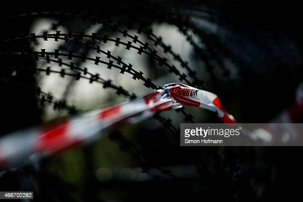 A general view of a perimeter fence around the new European Central Bank headquarters after activists took part in a demonstration organized by the...