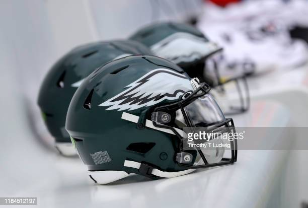 General view of a Philadelphia Eagles helmet before a game against the Buffalo Bills at New Era Field on October 27, 2019 in Orchard Park, New York....