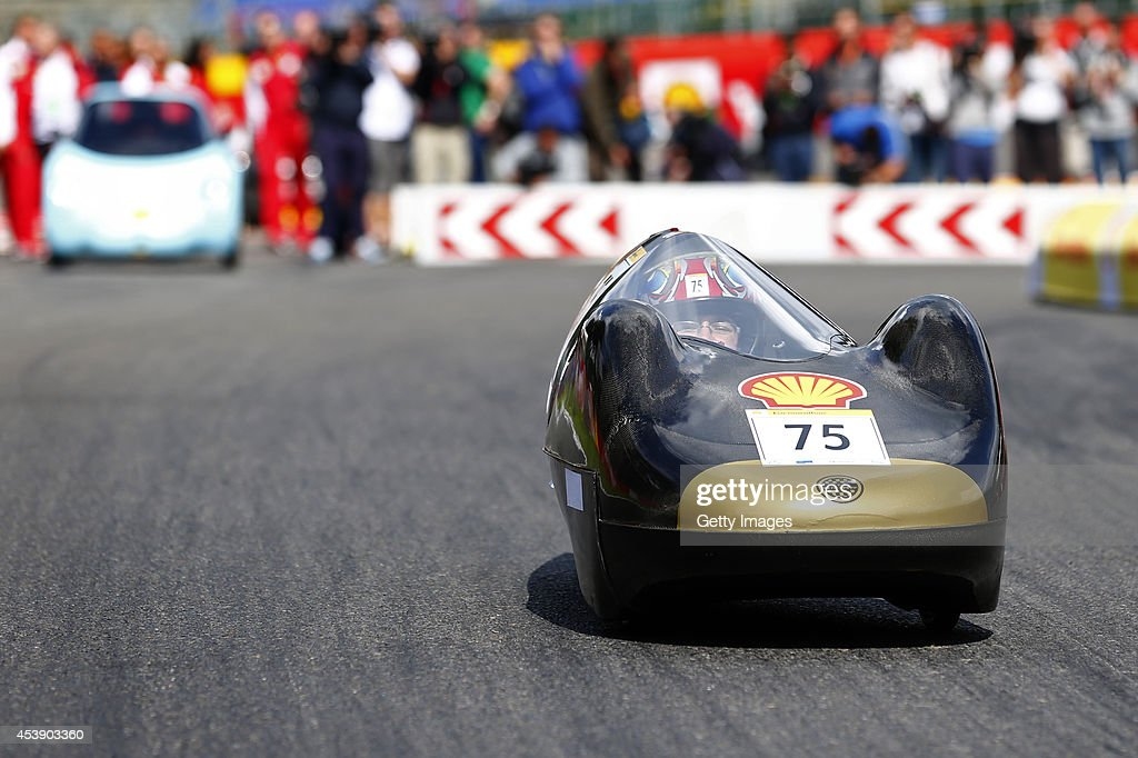 A general view of a photocall for the Shell Eco-Marathon cars during previews ahead of the Belgian Grand Prix at Circuit de Spa-Francorchamps at Circuit de Spa-Francorchamps on August 21, 2014 in Spa, Belgium.