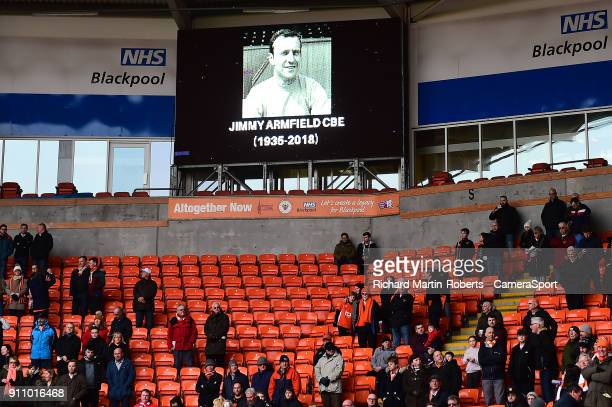 General View of a picture on the big screen honouring the late Jimmy Armfield at Bloomfield Rd home of Blackpool FC during the Sky Bet League One...