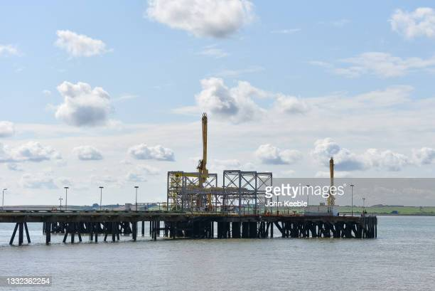 General view of a pipeline that feeds the gas storage tanks at the Calor Gas Ltd Terminal Location on the river Thames on August 2, 2021 in Canvey...
