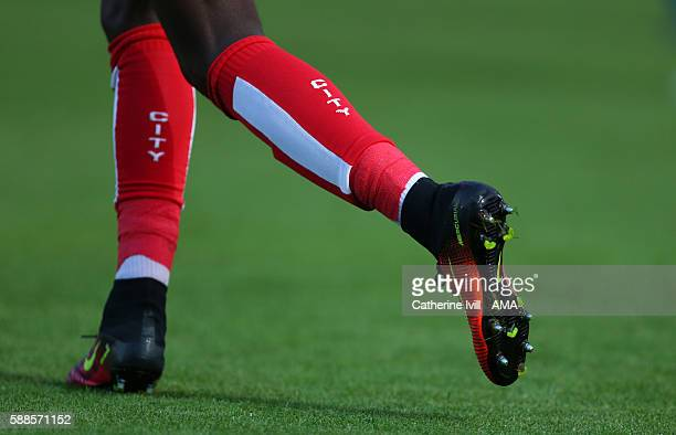 General view of a player running in Bristol City socks during the EFL Cup match between Wycombe Wanderers and Bristol City at Adams Park on August 8...