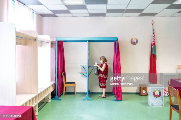 General view of a polling place on August 8, 2020 in Minsk, Belarus. Belorussians head to the polls on August 9 to decide whether President Aleksandr...
