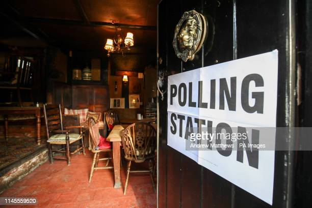 A general view of a polling station at the White Horse Inn in Priors Dean Hampshire also known as the 'Pub with no name' as voters head to the polls...