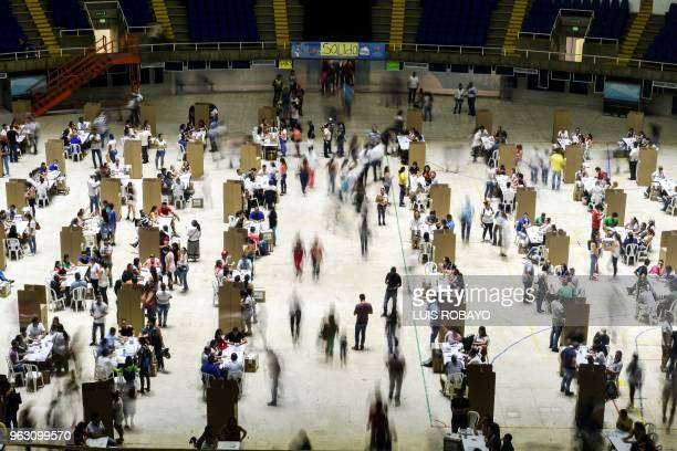 TOPSHOT General view of a polling station in Cali Valle del Cauca Department taken during the first round of presidential elections in Colombia on...