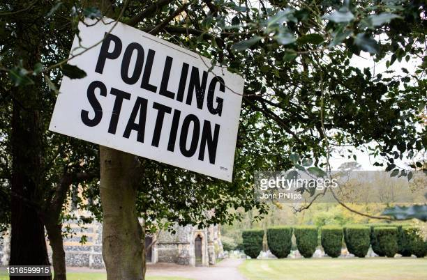 General view of a polling station sign outside St Pauls Church, Pilgrims Hatch, during local elections on May 06, 2021 in, Brentwood, United Kingdom....