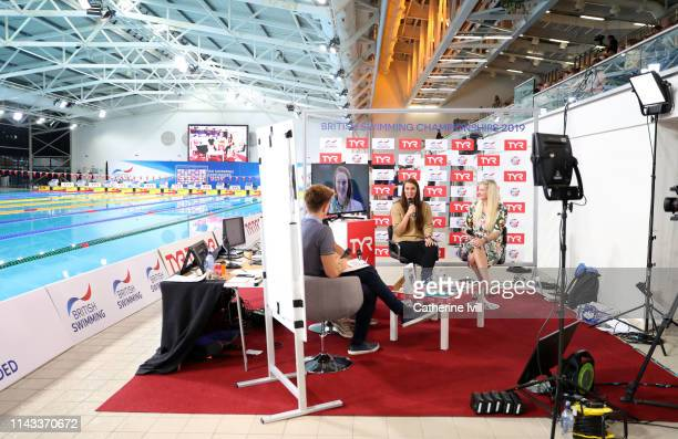 General view of a poolside television set during Day Two of the British Swimming Championships at Tollcross International Swimming Centre on April 17...