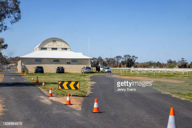 General view of a pop up COVID-19 clinic at Narromine Racecourse on September 08, 2021 in Narromine, Australia. New freedoms have been announced for...