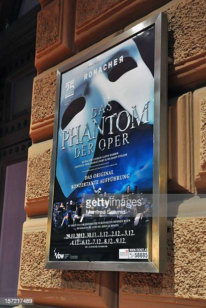 General view of a poster board at entrance to 'The Phantom Of The Opera' Opening Gala at Ronacher Theater on November 29, 2012 in Vienna, Austria.