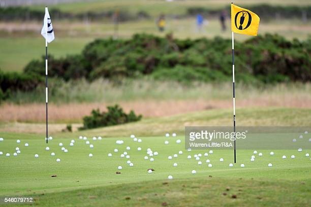 General View of a practice green, balls and flagstick during a practice round ahead of the 145th Open Championship at Royal Troon on July 11, 2016 in...