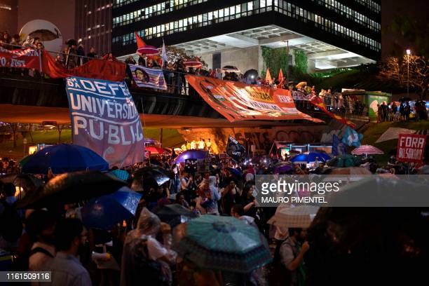 General view of a protest against President Jair Bolsonaro's education budget cuts in downtown Rio de Janeiro Brazil on August 13 2019