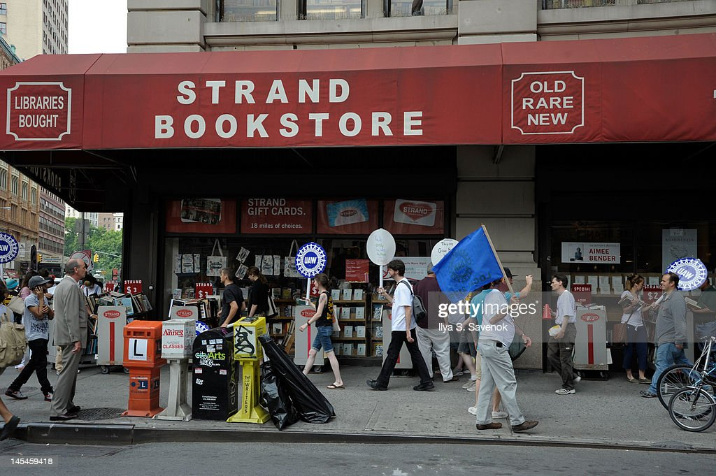 A general view of a protest outside during The Strand Bookstore's 85th Birthday Celebration at Strand Bookstore on May 30, 2012 in New York City.