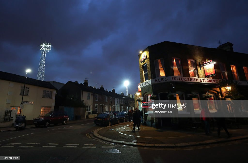 General view of a pub outside the stadium before the Sky Bet Championship match between Brentford and Birmingham City at Griffin Park on February 20, 2018 in Brentford, England.