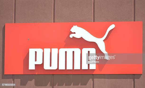 A general view of a Puma logo seen in South Edmonton Common a retail power centre located in Edmonton Alberta The flagship shopping complex is spread...