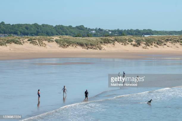 General view of a quiet Sandy Bay beach on May 25, 2020 in Porthcawl, United Kingdom. The British government has started easing the lockdown it...