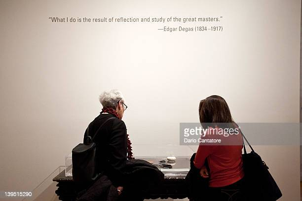 A general view of a quote by Edgar Degas during the 'The Steins Collect Matisse Picasso and the Parisian AvantGarde' press preview at the...