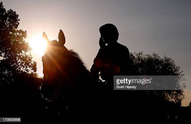A general view of a race horse and jockey during Worcester races on June 6 2013 in Worcester England