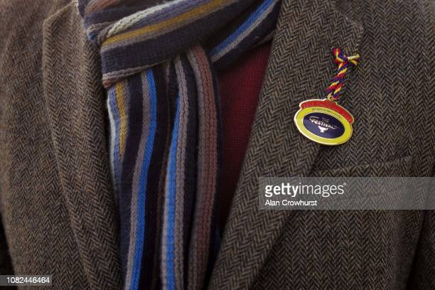 A general view of a racegoer with a members badge at Cheltenham Racecourse on December 14 2018 in Cheltenham England