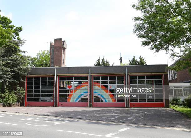 General view of a rainbow on Bletchley Fire station on May 08, 2020 in Bletchley, United Kingdom . The UK is continuing with quarantine measures...