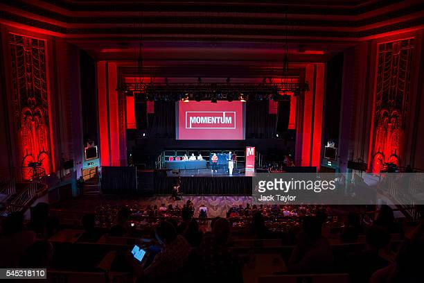A general view of a rally in support of Labour Leader Jeremy Corbyn by the grassroots group Momentum at The Troxy on July 6 2016 in London England Mr...