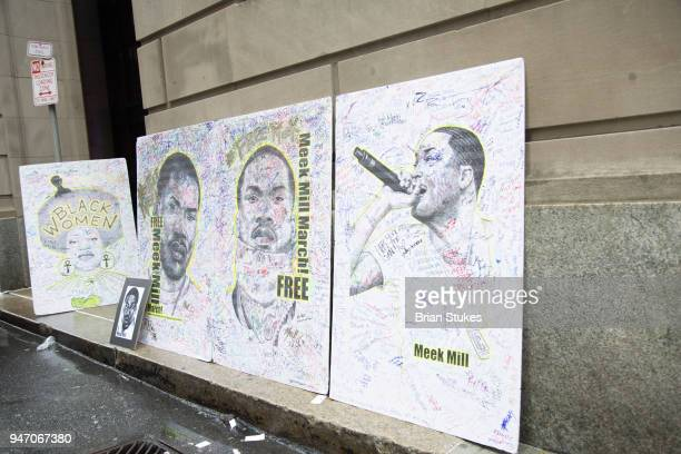 A general view of a rally protesting the imprisonment of Meek Mill outside the Philadelphia Criminal Justice Center during the rapper's status...