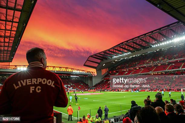 A general view of a red sky and sunset over Anfield home stadium of Liverpool prior to kick off in the Premier League match between Liverpool and...