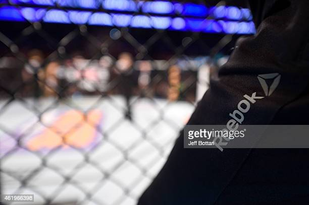 A general view of a Reebok logo overlooking the Octagon during the UFC Fight Night event at the TD Garden on January 18 2015 in Boston Massachusetts