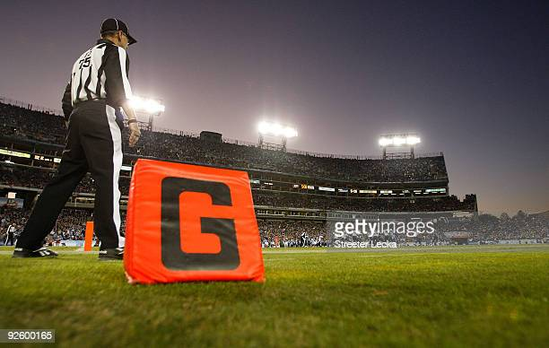 A general view of a referee on the field during the game between the Jacksonville Jaguars and Tennessee Titans at LP Field on November 1 2009 in...