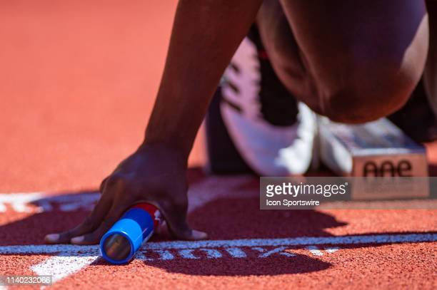 General view of a relay baton at the 125th Annual Penn Relays Track and Field Meet on April 27 at Franklin Field in Philadelphia PA