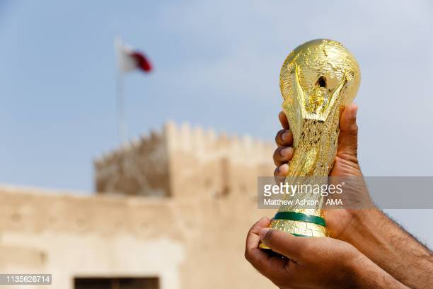 January 25 : A general view of a replica of the FIFA World Cup Trophy at the Al Zubara Fort, a UNESCO World Heritage Site, in Madinat ash Shamal,...