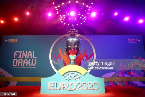 General view of a replica trophy is seen prior to the UEFA Euro 2020 Final Draw Ceremony at the Romexpo on November 30, 2019 in Bucharest, Romania.